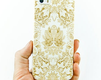 Gold iPhone 7 Case, Boho Style iPhone 6S Case, White and Gold iPhone 7+ Case, Bohemian iPhone 6S Plus Case, Samsung Galaxy