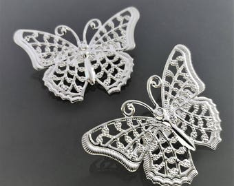 2 Butterfly brooch 4.1 cm metal color silver