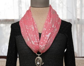 Butterfly Scarf Hot Pink & Big Pendant