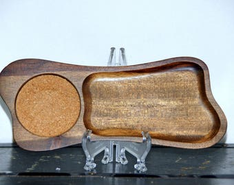 Wood Snack Tray, Set of 4, Cork Coaster Inlay, Bone Shape, Brown, Mid Century, 1960s - 1970s, Pool Party, Tiki, Relish Dish, Vintage, Kitsch