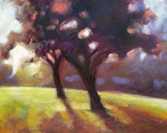 """Sunrise Landscape, Original Oil Painting, Trees in the Park, stretched canvas, 9"""" x 12"""""""