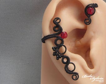 black & red gothic ear wrap - gothic ear cuff, black ear cuff, no piercing ear cuff, vampire jewelry, gothic jewelry, gothic gift for her