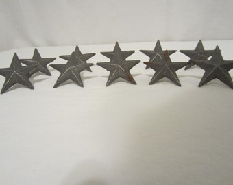 10 Raw Cast Iron Nail Stars 2 3/4 Wide For Wall Hanging Decor