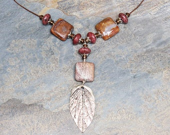 Leaf Necklace, Rust Brown Necklace, Pink Necklace, Natural Stone Necklace, Agate Necklace, Rhodonite Necklace, Beaded Bohemian Necklace
