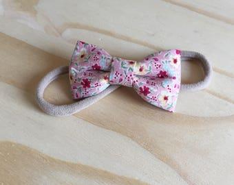 Pink flower bow headband
