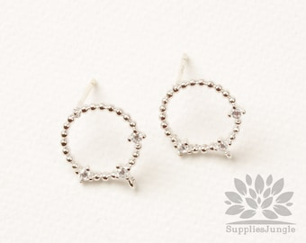 E348-R// Rhodium Plated Cubic Pointed Mini Ball Round Earring Post, 2pcs