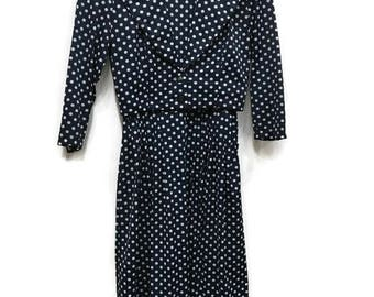 1950's Dress with Matching Jacket - Navy White Polkadot Cap Sleeve Long Dress with Cropped Jacket