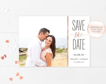 Save the Date, Save the Date Postcard, Save the Date Cards, Save the Date Template, Rose Gold Save the Date, Save the Date Printable [680]