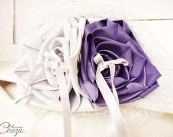 Wedding purple, grey and silver, original flower wedding ring personalized