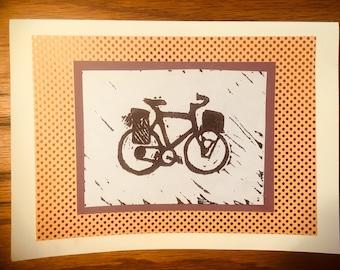 Bike block print cards-blank cards-handmade greeting cards-block print-lino print-bicycle cards