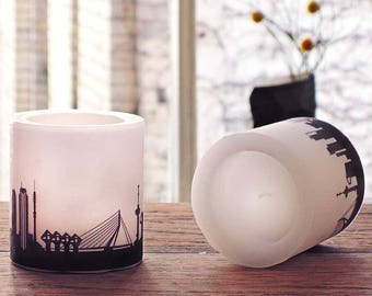 2 ROTTERDAM candles Skyline in plum, hostess gift, house-warming party, lampion ROTTERDAM city print, gift for Rotterdam lovers, by 44spaces