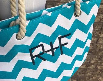 Monogrammed R+F Tote | Rodan and Fields Beach Bag | Monogrammed Chevron Tote