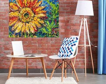 Sunflower art, Floral wall art, abstract floral wall art, modern flowers, summer ,Pittsburgh artist, by Johno Prascak, Johnos Art Studio