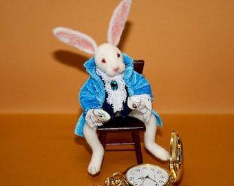 Needle Felted Rabbit Alice's Adventures in Wonderland handmade gift