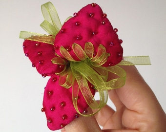 Pink Strawberries, Soft Brooch, girly style, fruit pin