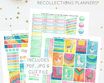 Llama Party - Weekly Kit for Erin Condren / Recollections Planners   Printable Planner Stickers   Includes PDF, JPG, and Cut File
