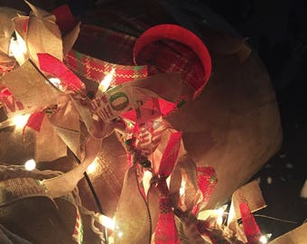 Holiday christmas garland, burlap, lights