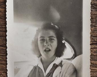 Original Vintage Photograph Girl Yawning