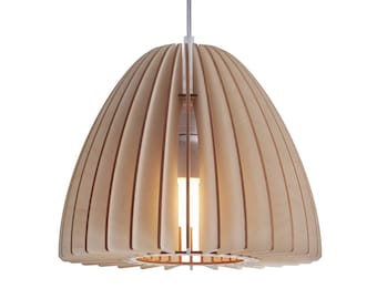 wood pendant light- modern plywood pendant light - wooden hanging chandelier - contemporary lighting - dining lamp Nika