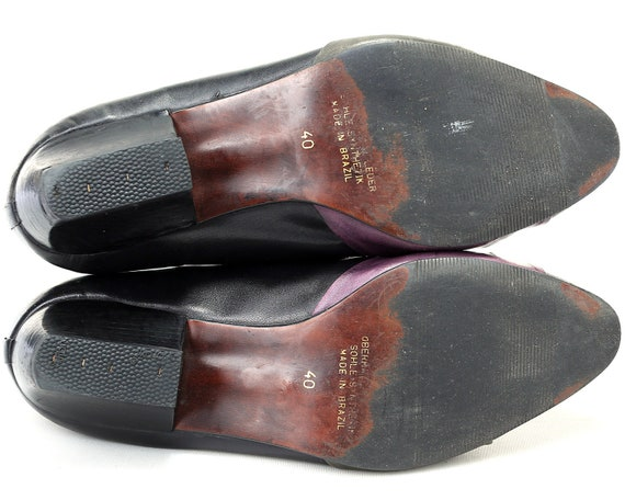 Black Elegant Knot Vintage Purple Retro 40 Shoes 9 Leather Slip UK Green Heel Flats in Shoes 1980s Low US EUR 7 On Made size 5 Brazil qfwPFvtF