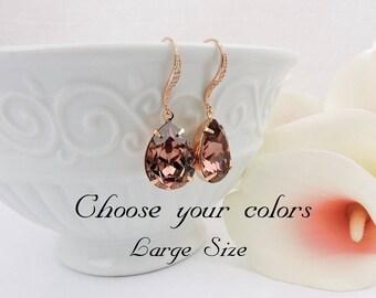 Rose Gold Blush Rose Swarovski Teardrop Bridal Earrings Swarovski Blush Rose Bridal Earrings Dark Rose Crystal Earrings