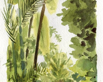 4x8 - Brooklyn Botanical Gardens - Original Watercolor Painting
