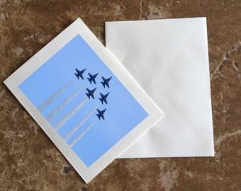 Blue Angels Blazing the Sky Blank Notecards