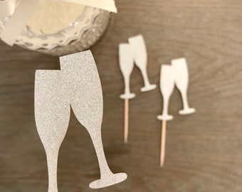 Cheers cupcake topper, Champagne Cupcake topper, Congratulations cake topper, Toast, Set of 10
