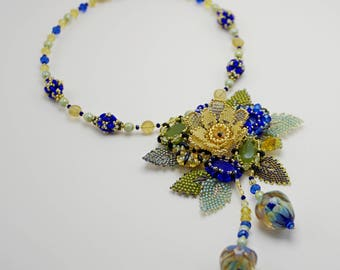 Colorful flower statement necklace, beaded exclusive handmade jewelry, lampwork, seed bead pendant, yellow blue olive green, OOAK beadwork