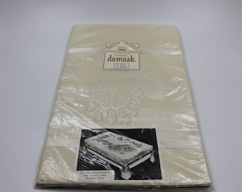 Vintage Imperial Damask Tablecloth & Napkin Set 5 Pieces New in Original Package