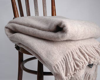 Blanket throw , Grey throw with fringes. woolen blanket, wool throw