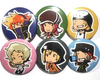 Pin Set - TWEWY Characters Neku Shiki Beat Joshua Rhyme Sho
