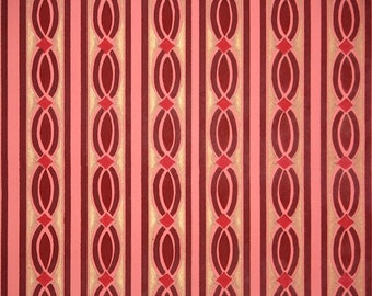 Early 1900s Antique Wallpaper by the Yard - Victorian Red and Gold Geometric Stripe