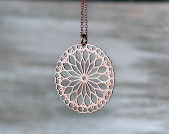 Mandala Necklace Filigree gift Mom Yoga Pendant Sterling Silver Lotus layer Grandma Summer Mothers day Bridesmaid gift Birthday teen women
