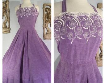 1950s Embroidered Lavender Sun Dress -- Adjustable Straps, Full Skirt