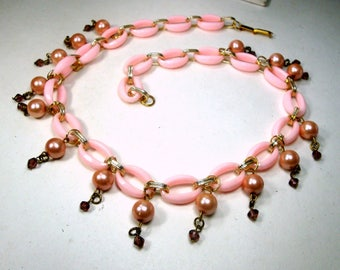 Princess PINK  LUCITE and Gold Chain w Pearl Charm Dangles, Recycled Ecochic 1960s Components,  OOAK by Rachelle Starr