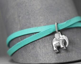 Teal Leather Bracelet, Wrap Bracelet, Elephant Bracelet, Leather Charm Bracelet, Handstamped Bracelet, Hand Stamped Bracelet, Free Shipping