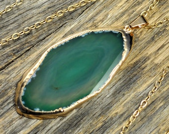 Agate Necklace, Green Agate Necklace, Green Agate Pendant, Agate Jewelry, Gold Necklace, Slice Agate, 14k Gold Fill Chain