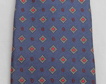 "Carson Pirie Scott & Co Men's Necktie Blue Red Vintage All Silk 60"" x 3"""