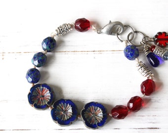 Blue and Red Hand Knotted Bracelet, Flower Bracelet, American Patriotism, Fourth of July jewelry, 4th of July jewelry