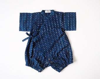 Baby Kimono, Jinbei, Romper for babies, INDIGO PLUIE bébé, hand block printed fabric from India, made in France