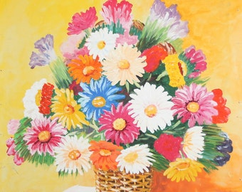 Oil Painting Still Life Flowers Signed