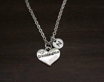 Granddaughter Necklace - Granddaughter Gift - Granddaughter Jewelry - Granddaughter Christmas Gift - Granddaughter Birthday - Carved - I/B