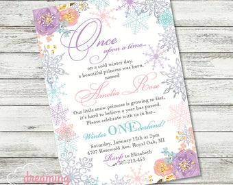 Snow Princess Winter ONEderland Snowflake Birthday Invitation with Floral, Flowers Silver Glitter