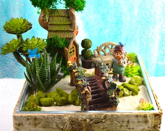 Fairy Garden Kit ~ Gnome Garden with Treehouse ~ Bridge ~ Bench ~ Birch Wood Planter ~ Faux Plant option ~ Gnome or Fairy + Planter Options