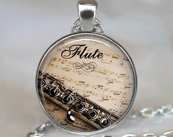 Flute and Music necklace, flute pendant flute jewelry flute necklace music teacher gift flautist gift music gift key chain key ring key fob