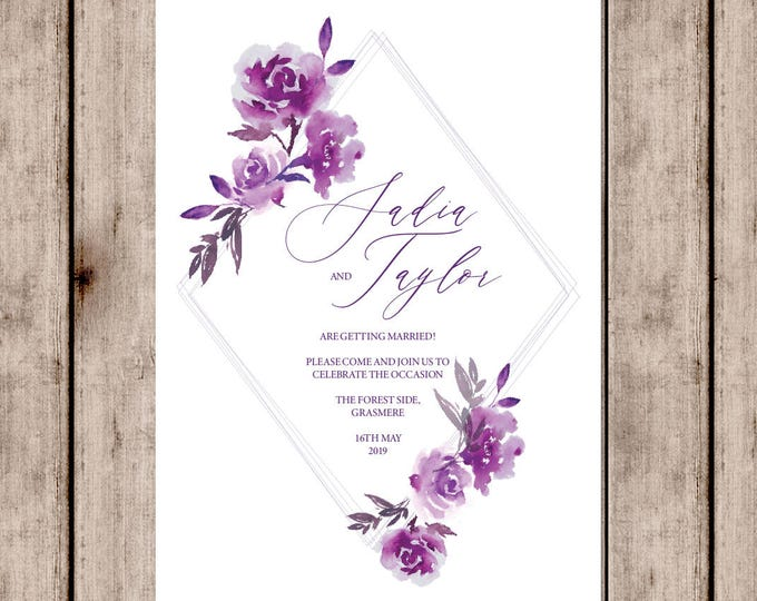Featured listing image: Purple diamonds wedding invitations with matching accessories