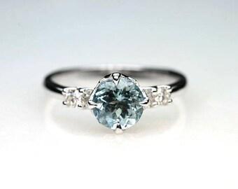 Round Aquamarine Engagement Ring.7MM Aquamarine Art Deco 14K Solid Gold & Natural Diamond Wedding Ring.Promise Diamond Ring Unique Ring.