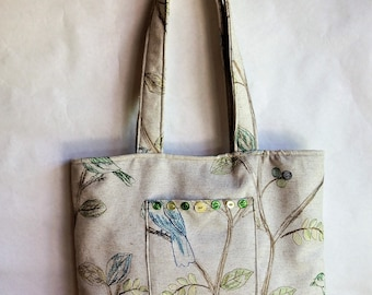 Fabric purse handmade tote bag made from repurposed materials by Cant Have Enough