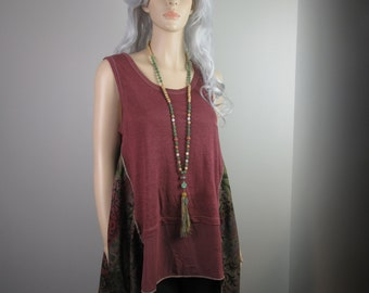 Boho Lagenlook Tunic Blouse Long Loose Fit Dusty Rose with Sage Green Floral Print Sleeveless Linen Knit with Silk One Size Fits S - XL
